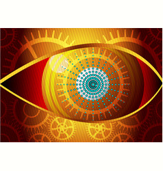 Eye design concept curved lines and gear gold vector