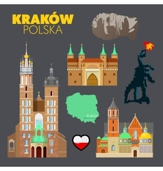 Krakow Poland Travel Doodle with Architecture vector image