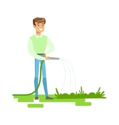 Man watering plants with hose contributing into vector