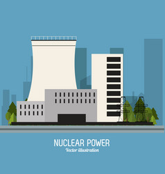 Nuclear plant power trees industry icon vector