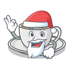 Santa coffee character cartoon style vector