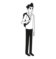 young man bag stylish outline vector image