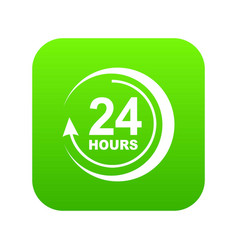 24 hours support icon green vector image