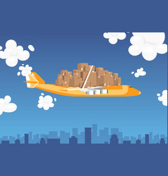 airplane mail transportation package set vector image