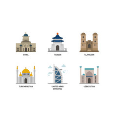 Asian cities and counties landmarks icons set 6 vector