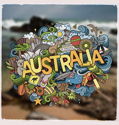 australia hand lettering and doodles elements and vector image