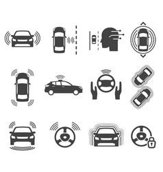 Autonomous smart car glyph icons set vector