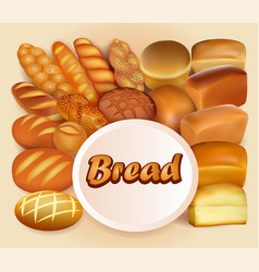 Background store of bread and baking fresh bread vector