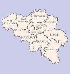belgium contour map with provinces vector image