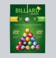Billiard tournament poster card template vector