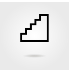 black stairway icon with shadow vector image