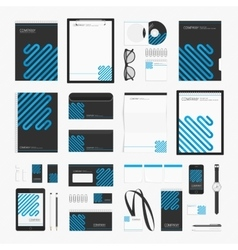 Blue line corporate identity template vector image