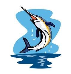 Blue Marlin Fish Jumping Retro vector