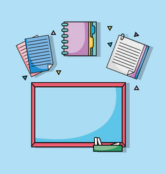 Board with notebook papers and document uetensils vector