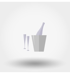Bottle in ice bucket and two glasses Icon vector