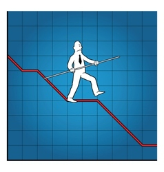 Business man balancing on declining graph vector image