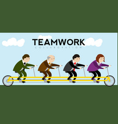 Businessmen riding a bicycle teamwork vector