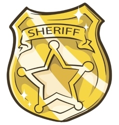 Cartoon golden sheriffs badge vector