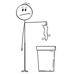 cartoon of man throwing used or unused condom in vector image