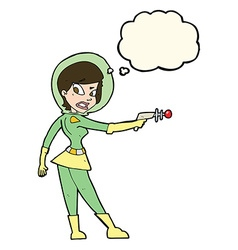 cartoon sci fi girl with thought bubble vector image