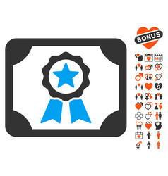 certificate icon with dating bonus vector image