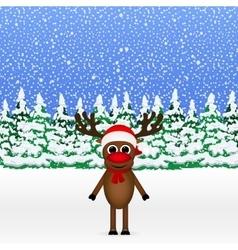 Christmas cartoon reindeer standing vector image