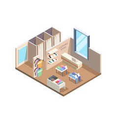 clothes store isometric boutique exhibition stand vector image