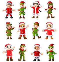Collection of cartoon santa claus kids and elves i vector