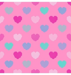 Colorful seamless pattern in halftone hearts vector