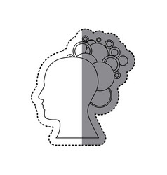 Contour human with bubbles icon vector