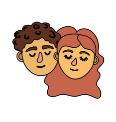 couple lover head with closed eyes and hairstyle vector image