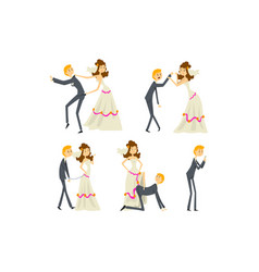 Couple newlyweds set henpecked man husband vector