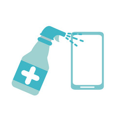 Covid19 19 coronavirus wipe phone with alcohol vector