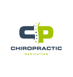 Cp letter chiropractic logo icon vector