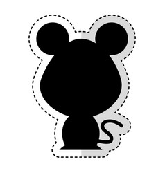 cute mouse silhouette isolated icon vector image