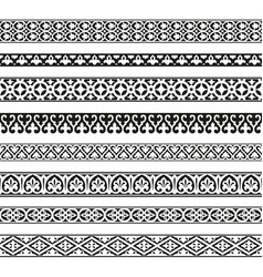 Decorative seamless borders vintage set vector