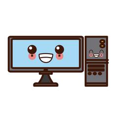 Desk computer technology kawaii cute cartoon vector