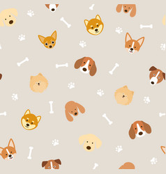 dog breeds head seamless patternxa vector image