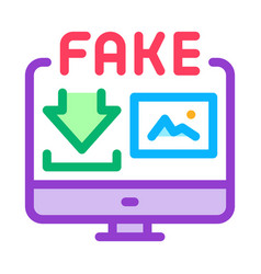 Downloading fake image icon outline vector