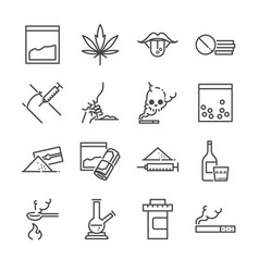 Drugs line icon set vector