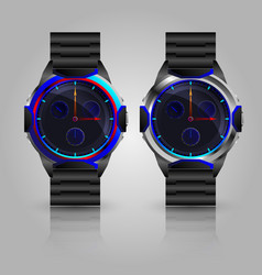 Dual metallic men wrist watch vector