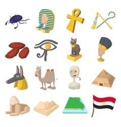 Egypt icons cartoon vector