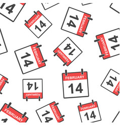 february 14 calendar page seamless pattern vector image