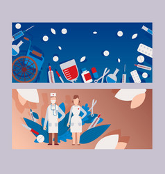 Flat clinic hospital male and female doctor vector