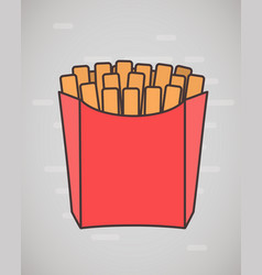 Flat style french fries in paper box isolated vector