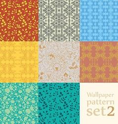 Floral wallpaper pattern set vector
