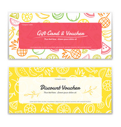 Fruit theme gift certificate voucher gift card vector