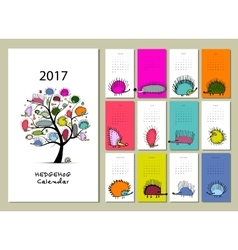 Funny hedgehogs calendar 2017 design vector