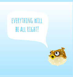 Funny poster with marine fugu fish or puffer fish vector