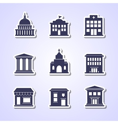 Government building paper cut icons vector image